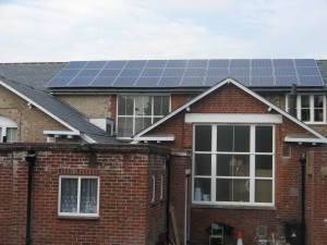 The 36 solar photovoltaic panels installed on the roof of the community centre in October 2010
